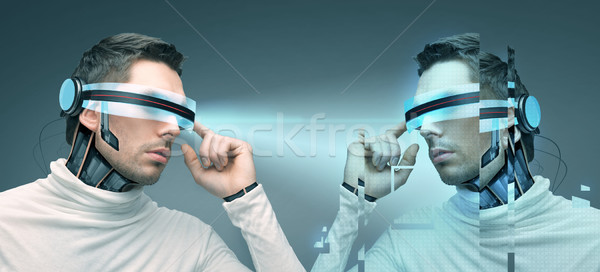Stock fotó: Férfi · futurisztikus · 3d · szemüveg · emberek · technológia · jövő
