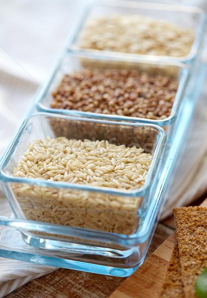 Photo stock: Grain · verre · bols · table · en · bois · alimentaire