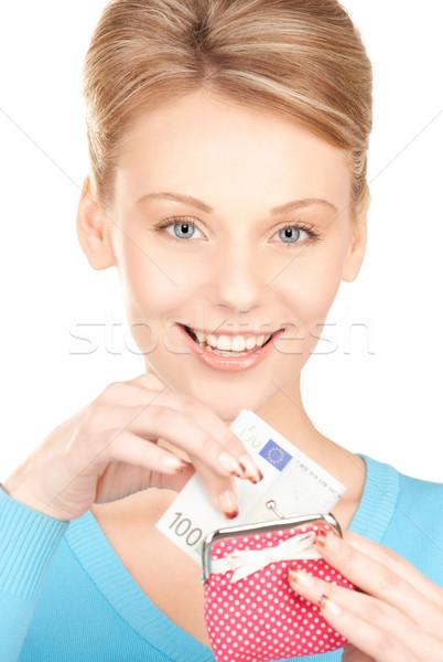 женщину кошелька деньги фотография бумаги лице Сток-фото © dolgachov