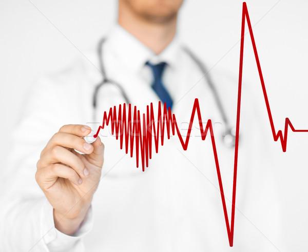 Arts tekening elektrocardiogram virtueel scherm Stockfoto © dolgachov