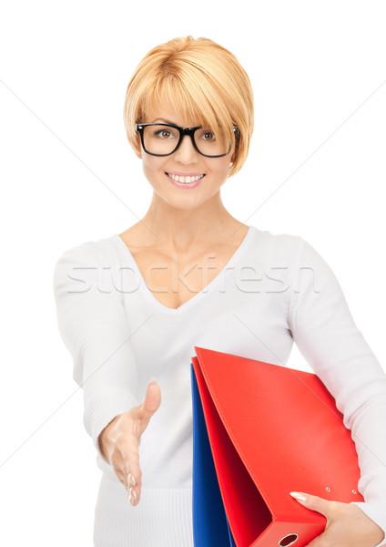 деловая женщина готовый рукопожатие фотография женщину Сток-фото © dolgachov