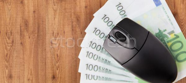 Компьютерная мышь евро деньги бизнеса Финансы Сток-фото © dolgachov