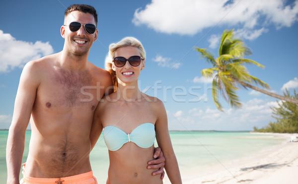 Glücklich Paar Badebekleidung Sommer Strand Stock foto © dolgachov