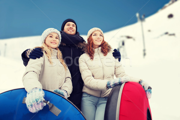 Groep glimlachend vrienden sneeuw winter Stockfoto © dolgachov