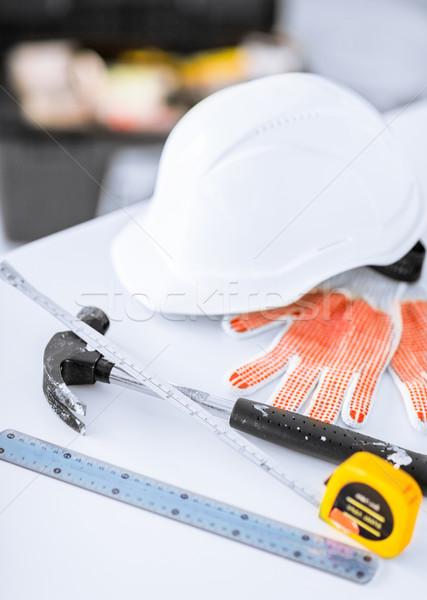 план гибкий шлема молота архитектура домой Сток-фото © dolgachov