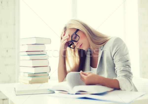 Diák könyvek jegyzetek köteg tanul bent Stock fotó © dolgachov