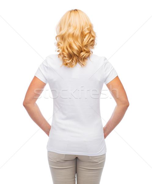 Femme blanche tshirt Retour annonce vêtements Photo stock © dolgachov