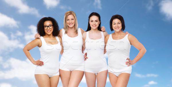 Csoport boldog különböző nők fehér alsónemű Stock fotó © dolgachov