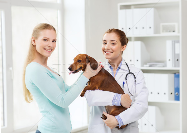 счастливым женщину собака врач ветеринар клинике Сток-фото © dolgachov