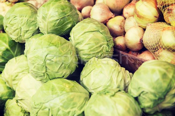 Cavolo cipolla strada mercato vendita Foto d'archivio © dolgachov
