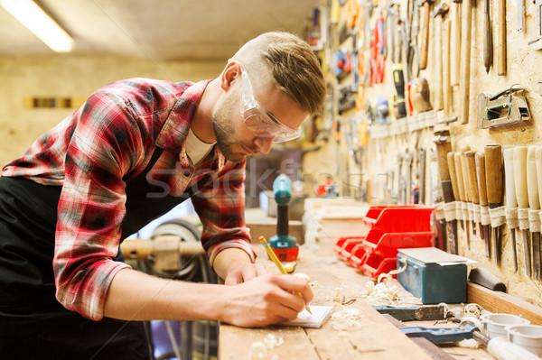 Marangoz yazı defter atölye meslek marangozluk Stok fotoğraf © dolgachov