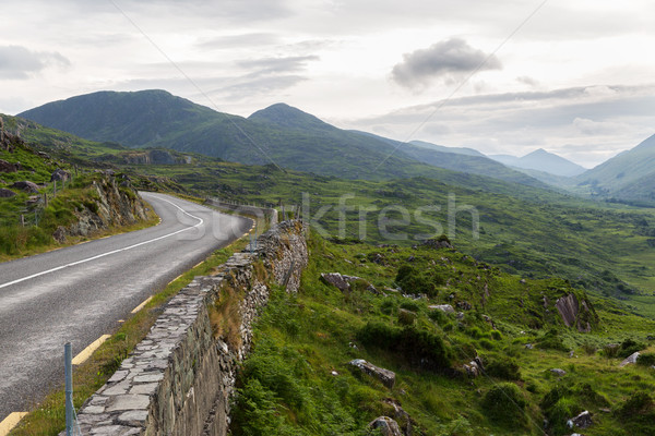 Stock photo: asphalt road and hills at connemara in ireland