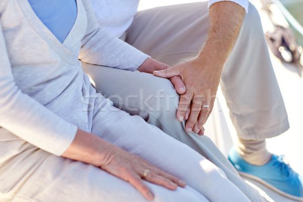 close up of senior couple on sail boat or yacht Stock photo © dolgachov