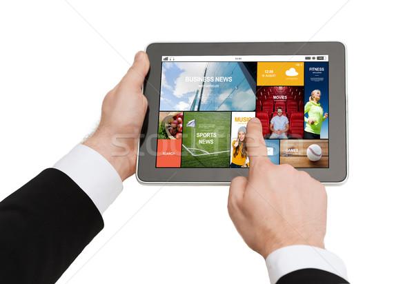 Stockfoto: Handen · zakenlieden · technologie