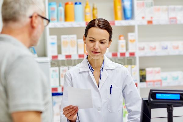 Farmacista lettura prescrizione senior uomo medicina Foto d'archivio © dolgachov