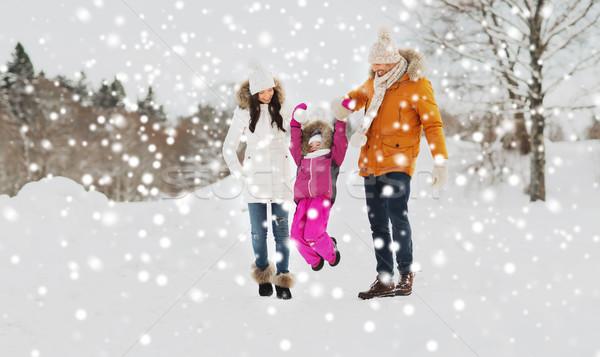 Stockfoto: Gelukkig · gezin · winter · kleding · lopen · buitenshuis