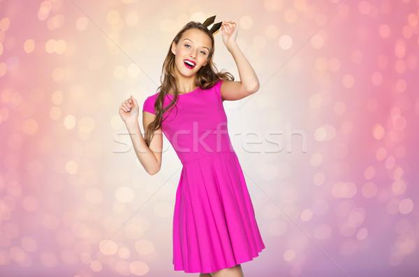 счастливым подростка девушка Принцесса корона люди Сток-фото © dolgachov