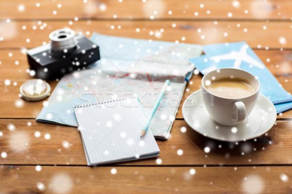 Notepad kaart reizen tickets vakantie Stockfoto © dolgachov