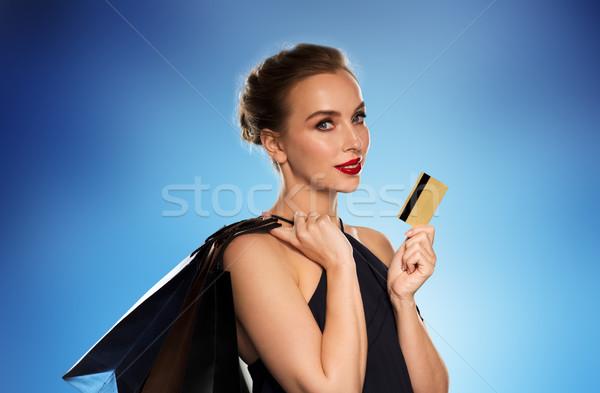 Stock fotó: Nő · hitelkártya · bevásárlótáskák · emberek · luxus · vásár