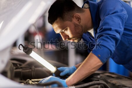 man with open hood of broken car at countryside Stock photo © dolgachov