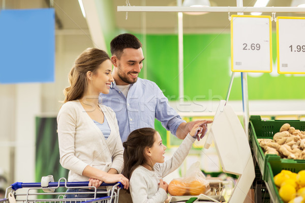 family weighing oranges on scale at grocery store Stock photo © dolgachov