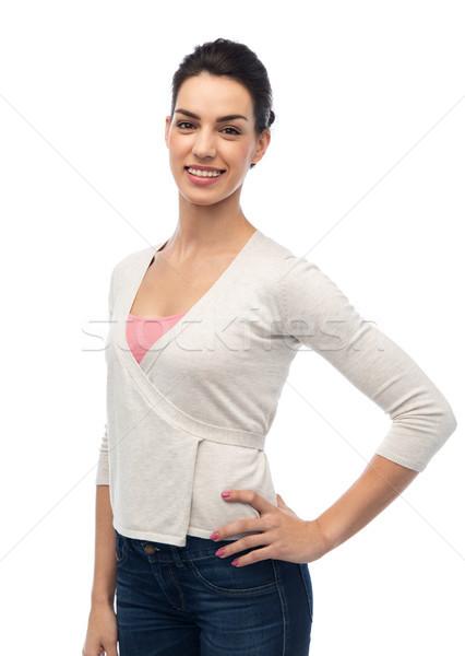 幸せ 笑みを浮かべて 若い女性 ブレース ファッション 肖像 ストックフォト © dolgachov