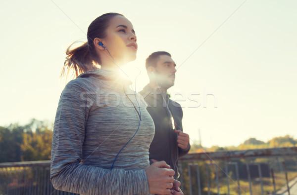 счастливым пару работает улице фитнес Сток-фото © dolgachov