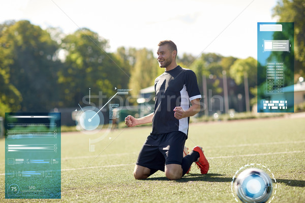Boldog labdarúgó labda futballpálya sport technológia Stock fotó © dolgachov