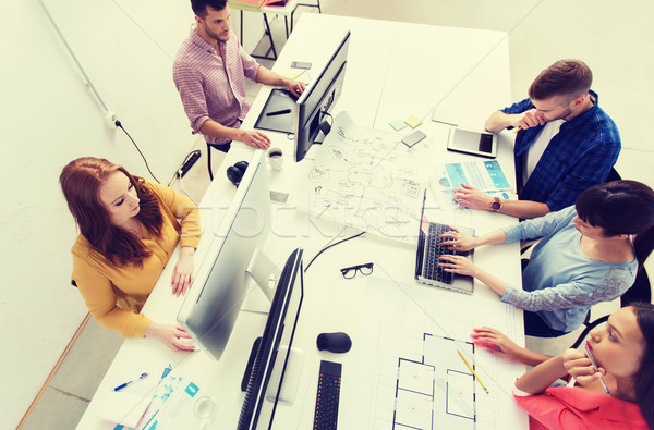 Creatieve team computers blauwdruk kantoor business Stockfoto © dolgachov
