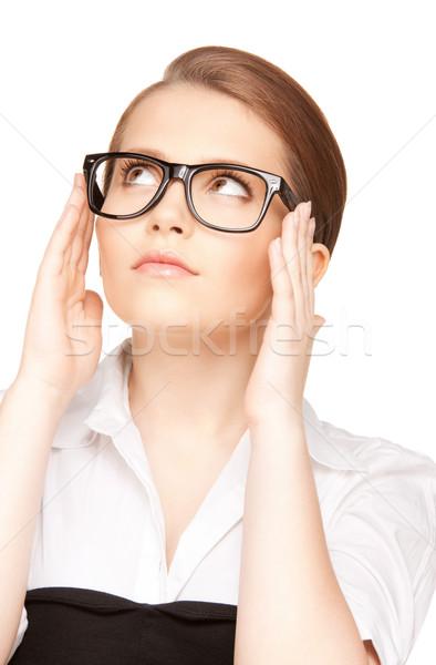 Kobieta okulary zdjęcie piękna okulary Zdjęcia stock © dolgachov