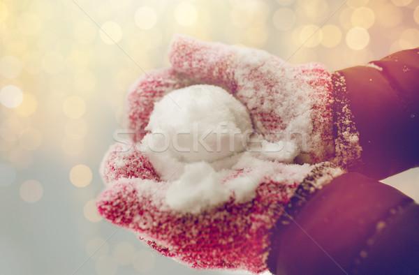 Kadın kartopu açık havada kış Stok fotoğraf © dolgachov