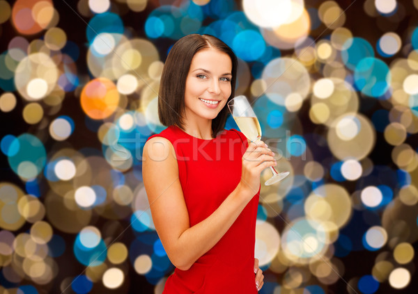 улыбающаяся женщина стекла вино вечеринка Сток-фото © dolgachov