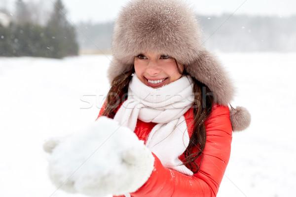 счастливым женщину снега зима мех Hat Сток-фото © dolgachov