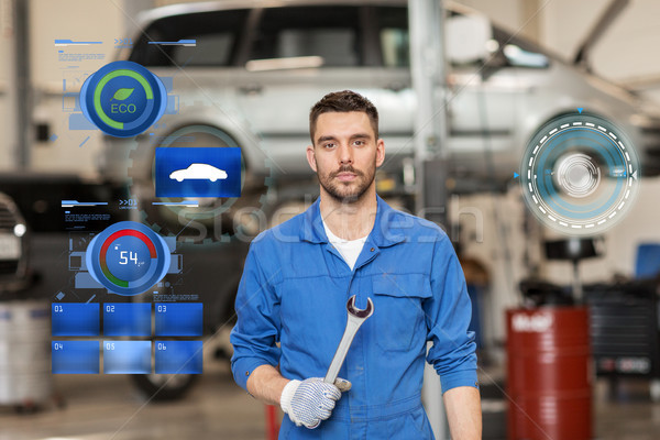 auto mechanic or smith with wrench at car workshop Stock photo © dolgachov