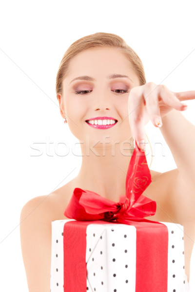 Foto stock: Niña · feliz · caja · de · regalo · blanco · mujer · sonrisa · feliz