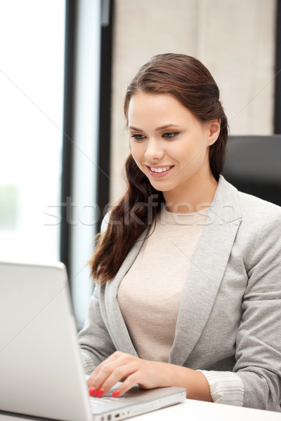 happy woman with laptop computer Stock photo © dolgachov