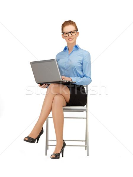 happy woman with laptop computer Stock photo © dolgachov