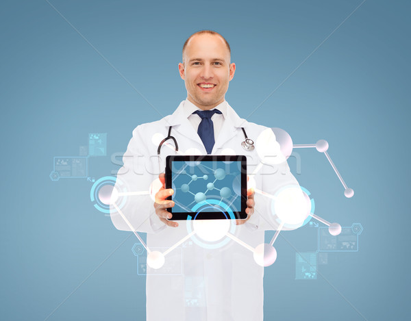 smiling male doctor with stethoscope and tablet pc Stock photo © dolgachov