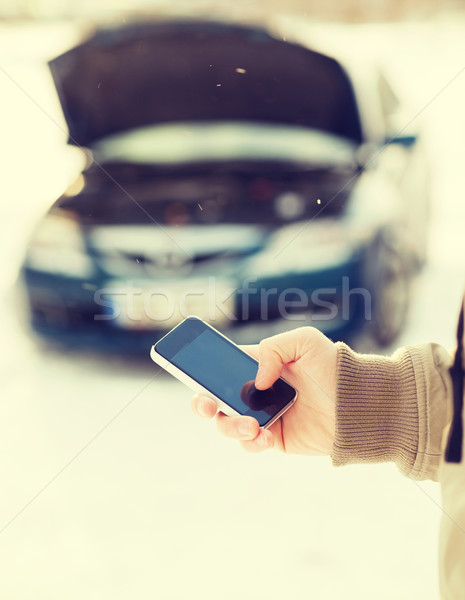 closeup of man with broken car and cell tphone Stock photo © dolgachov