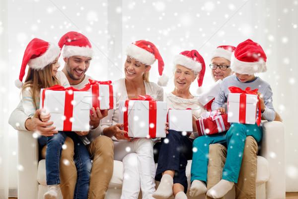 幸せな家族 座って ソファ ホーム 家族 幸福 ストックフォト © dolgachov