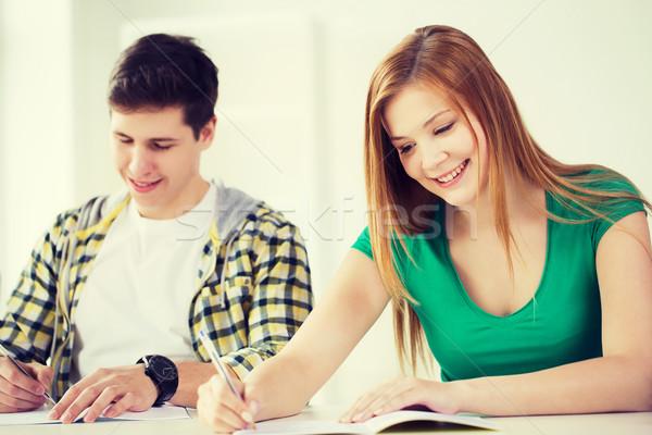 Uśmiechnięty studentów szkoły edukacji dwa Zdjęcia stock © dolgachov