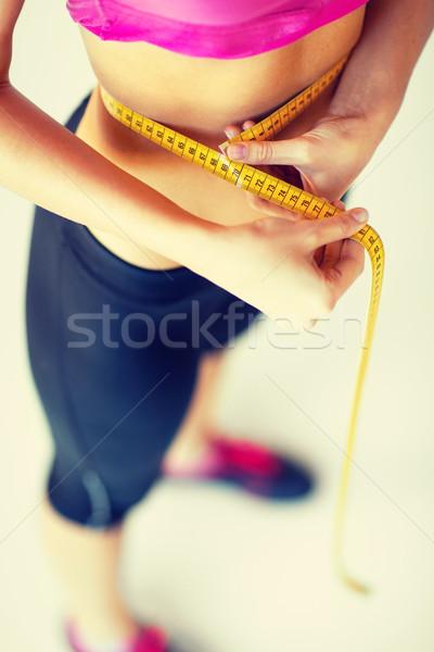 ストックフォト: 腹 · 巻き尺 · スポーツ · ダイエット · 女性
