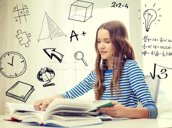 smiling student girl reading books at home Stock photo © dolgachov