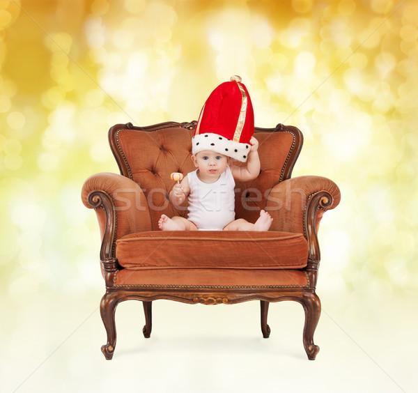 Baba királyi kalap nyalóka ül szék Stock fotó © dolgachov