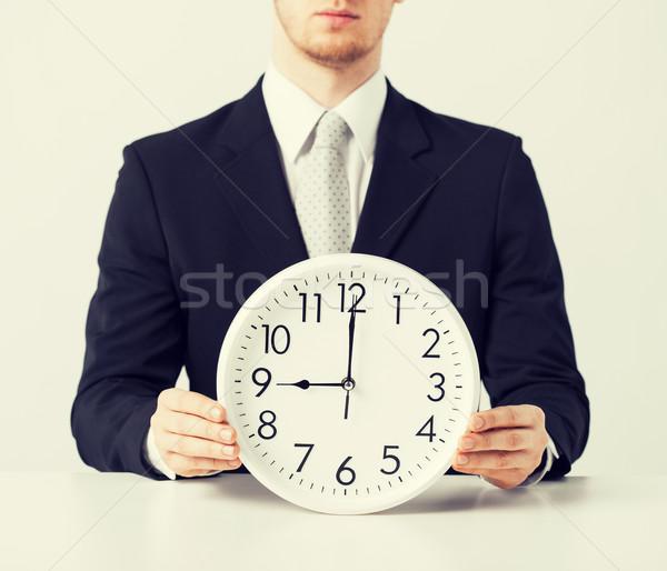 man with wall clock Stock photo © dolgachov