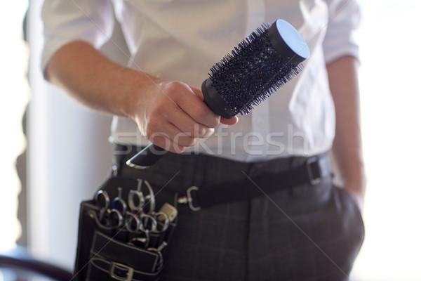 Mannelijke stilist borstel salon schoonheid Stockfoto © dolgachov