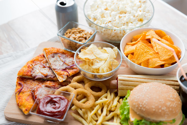 Foto stock: Fast-food · lanches · beber · tabela · insalubre · comer