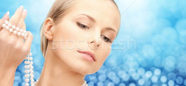 美人 海 真珠 ビーズ 手 美 ストックフォト © dolgachov