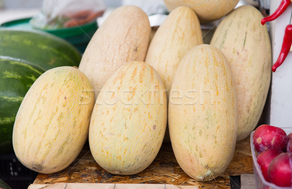 close up of melon at street farmers market Stock photo © dolgachov