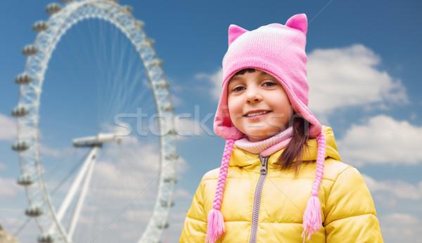 幸せ 女の子 ロンドン フェリー ホイール 幼年 ストックフォト © dolgachov